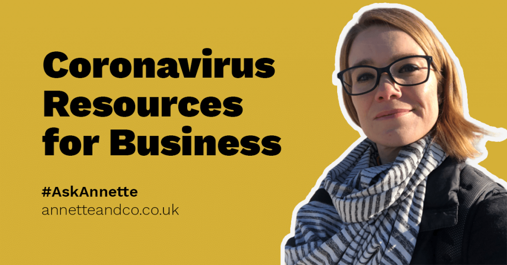 A banner image for a blog post with a face of Annette Ferguson emphasizing the title coronavirus resources for business