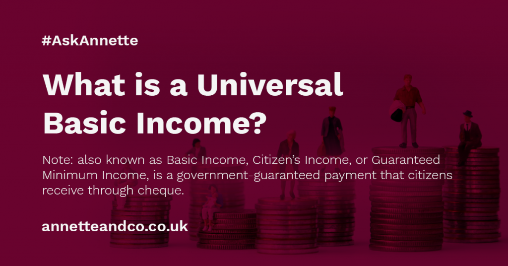 a blog featured image banner for an article entitled What is a Universal Basic Income