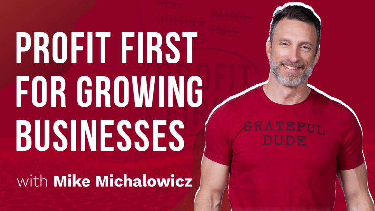 a featured image banner for a special episode from annette fergs tv highlighting profit first with mike michalowicz