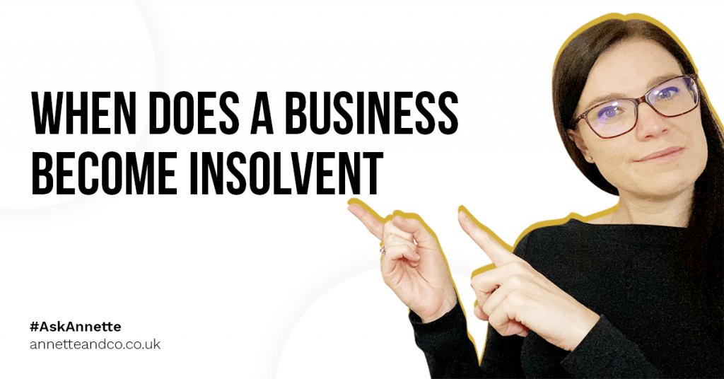 a blog featured image banner entitled when does a business become insolvent