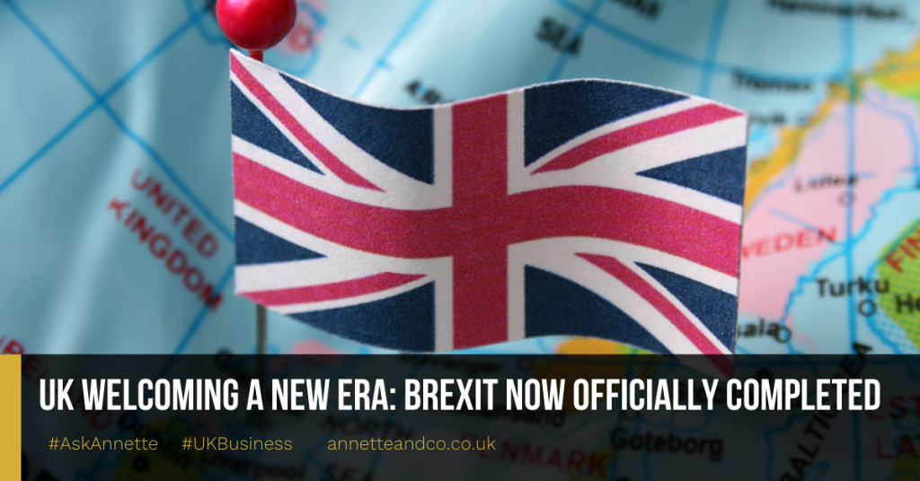 a blog featured image entitled UK Welcoming A New Era: Brexit Now Officially Completed